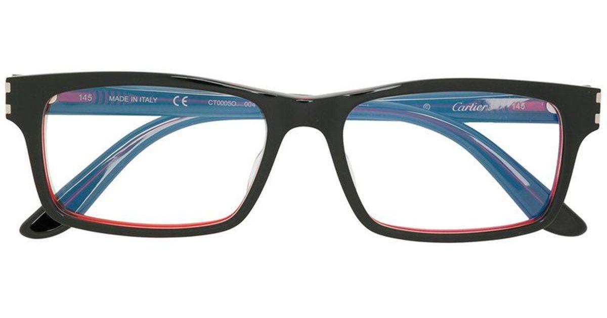 Cartier Square Frame Glasses in Black - Lyst