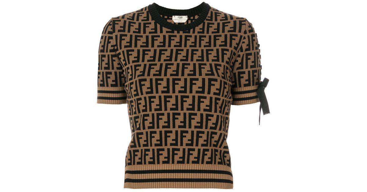 f68cb0e314 Lyst - Fendi Logo Short-sleeve Sweater in Brown