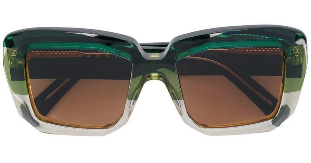 65e85fc234a Lyst - Marni Eyewear Oversized Square Sunglasses in Green
