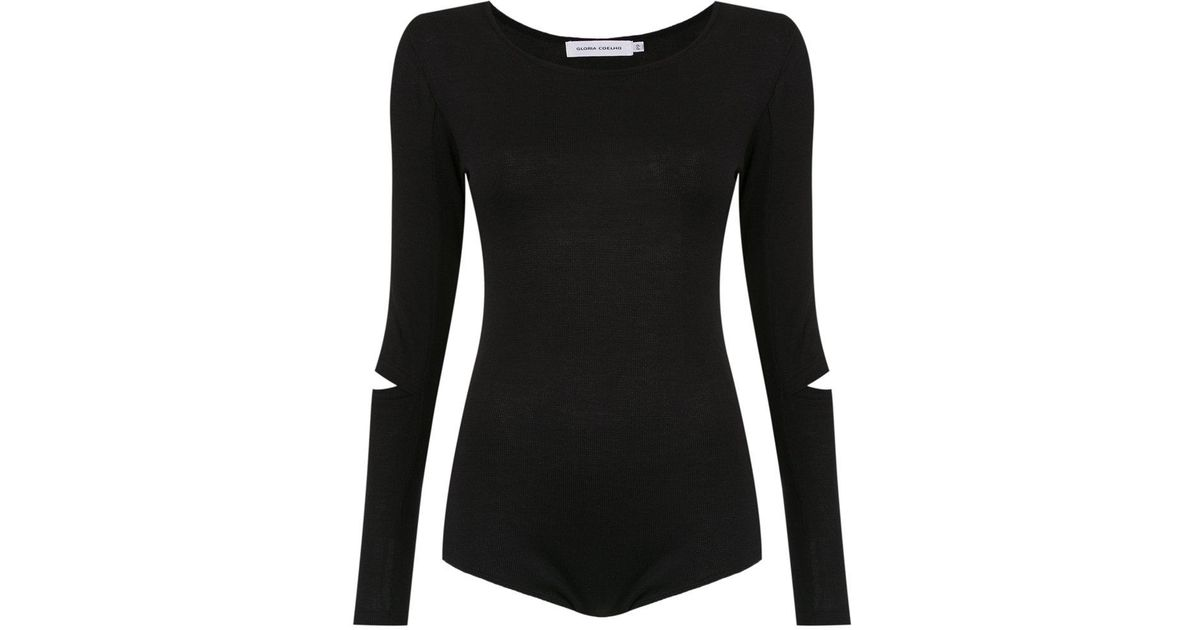 long sleeves knit bodysuit - Black Gloria Coelho Outlet Discount Clearance Official Cheap Sale Fast Delivery rMcfsnLg