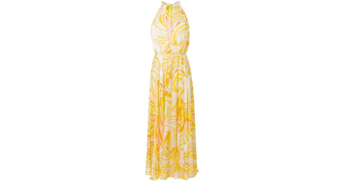 printed halterneck maxi dress - Yellow & Orange Emilio Pucci pxSo9gP