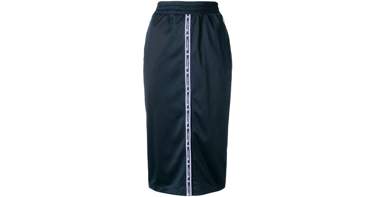 457490c7b Champion Logo Panel Pencil Skirt in Blue - Lyst