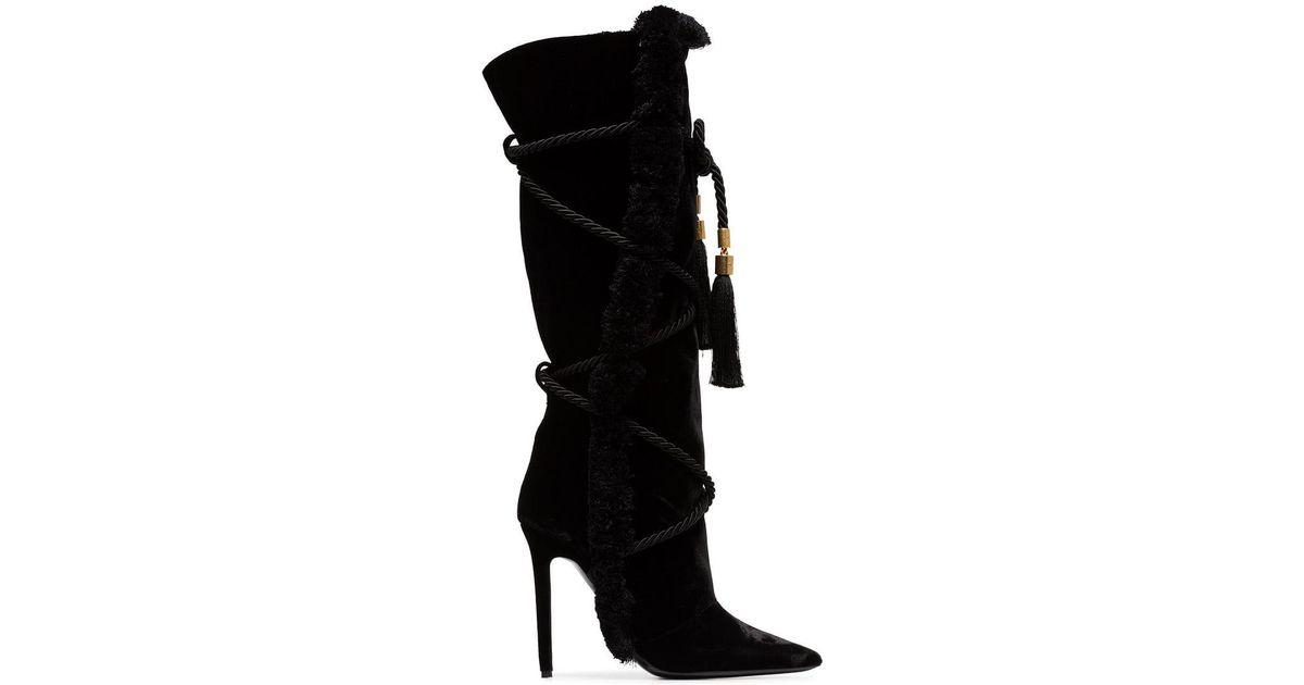 30c9451c9e7 Lyst - Versace Black Pillow Talk 110 Braided Velvet Knee High Boots in Black  - Save 50%
