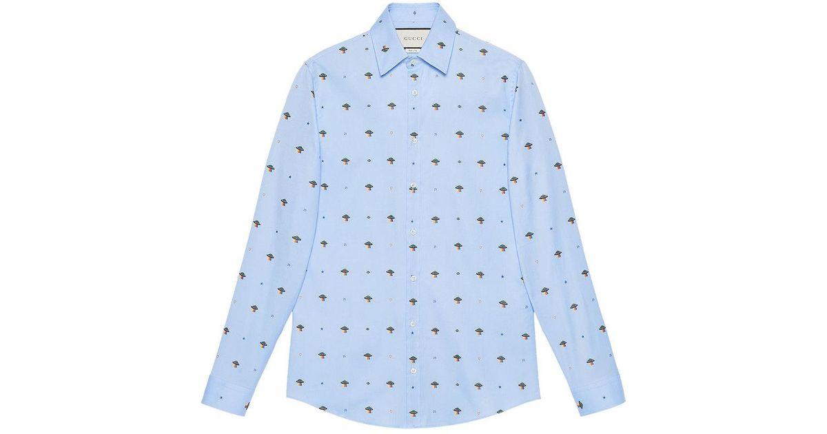 b37b83bb046 Gucci Elephants Fil Coupé Duke Shirt in Blue for Men - Save 12% - Lyst
