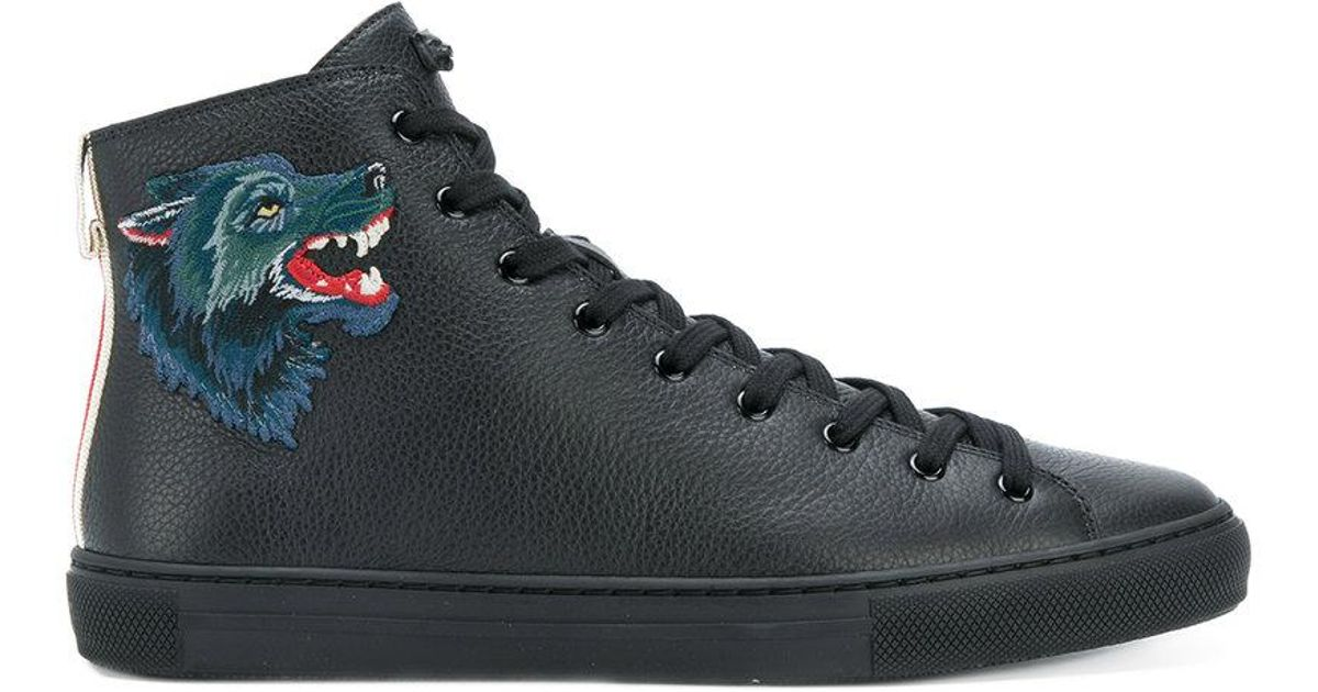 c384bc67d99d Lyst - Gucci Wolf Patch-appliquéd Hi-top Sneakers in Black for Men