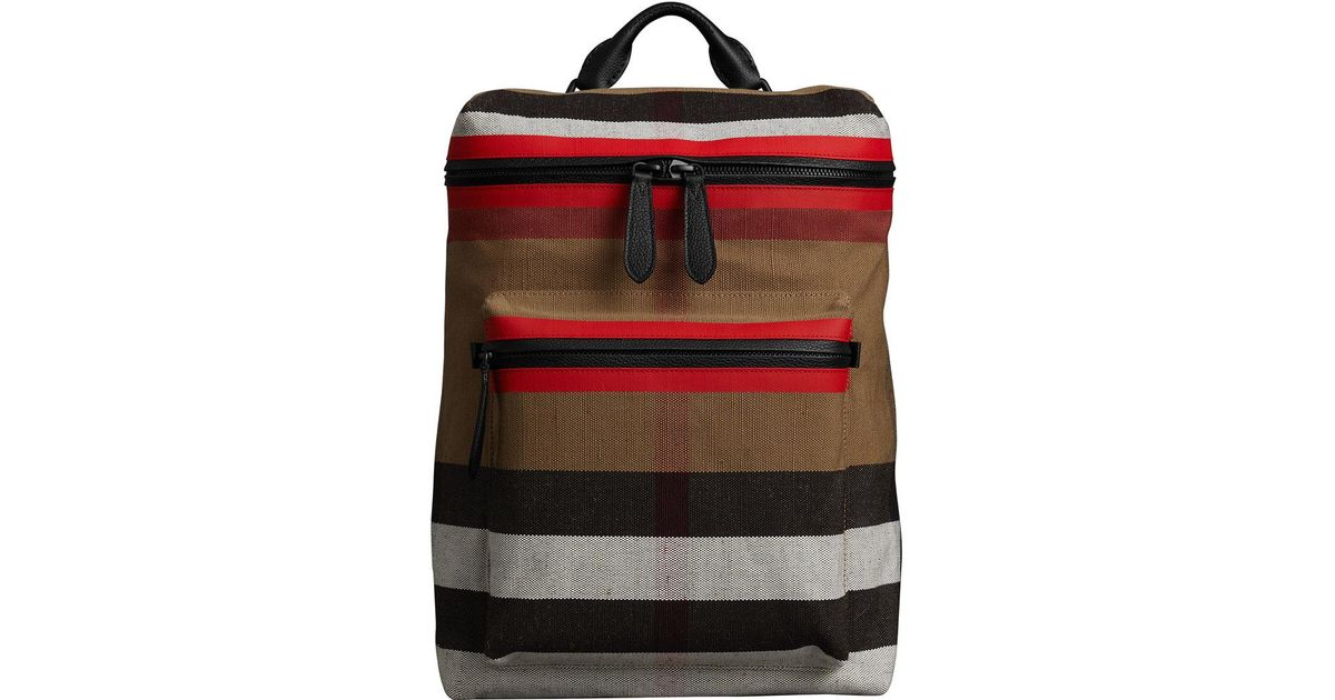877a6bfcf Burberry Zip-top Leather Trim Canvas Check Backpack in Red for Men - Lyst