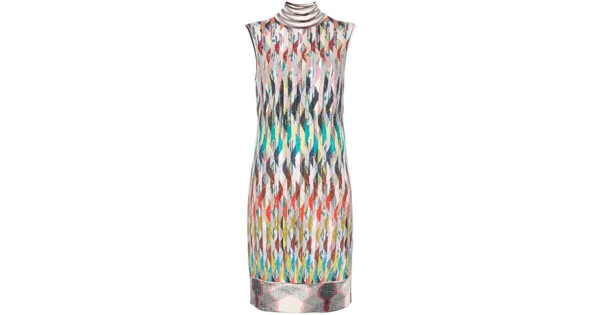 991696af170 Lyst - Missoni Striped Knitted Turtleneck Dress