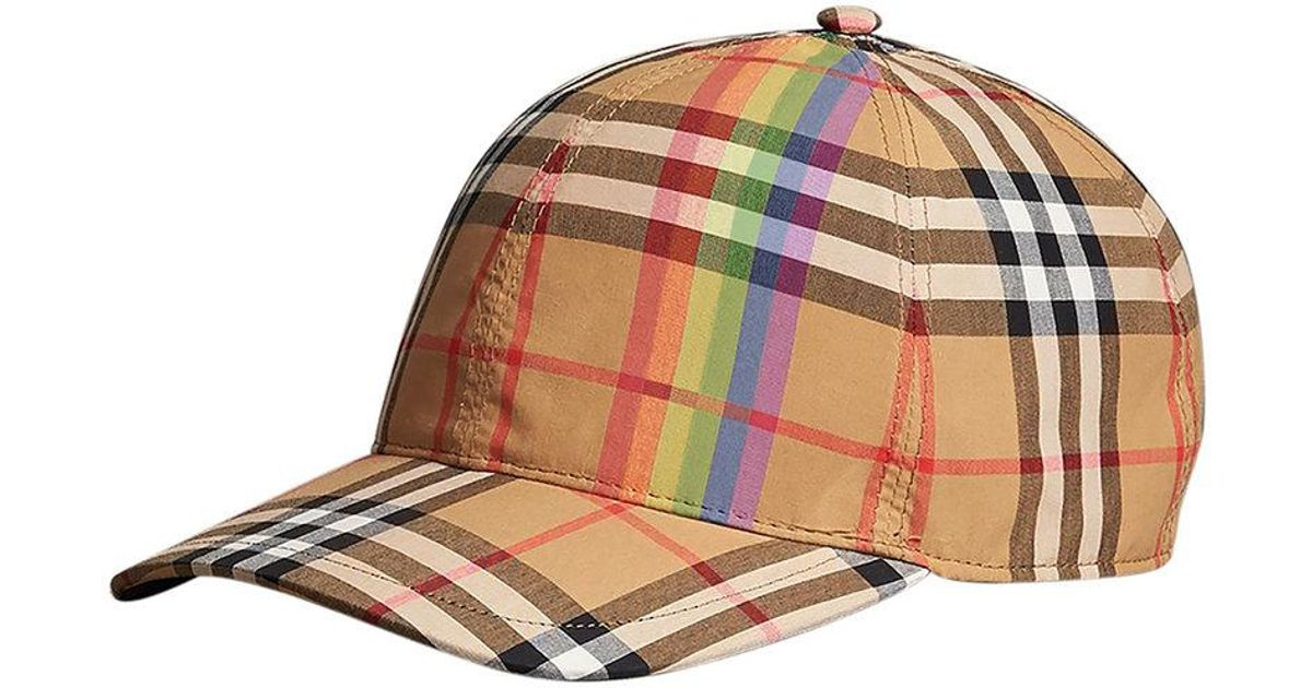 7933cb7cc82 Lyst - Burberry Rainbow Vintage Check Baseball Cap in Brown