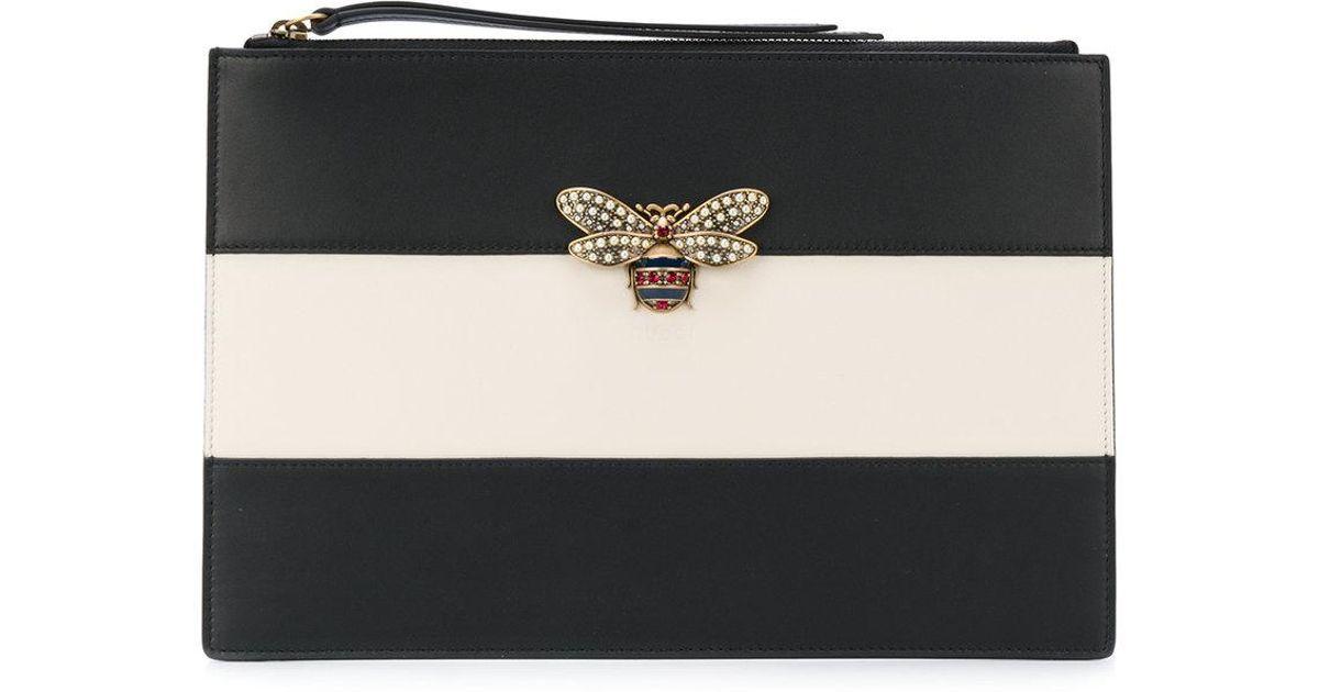 556e03565070 Gucci Bee Clutch Bag in Black - Lyst