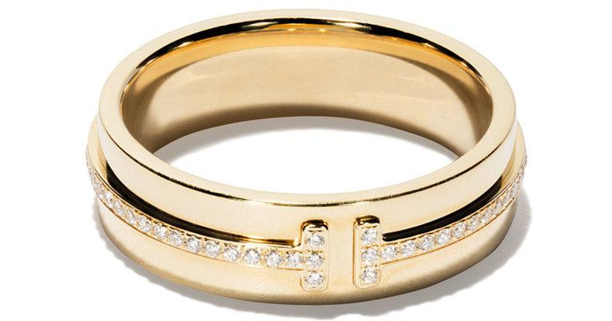 9cfd17fed Tiffany & Co. Tiffany T Two Ring In 18k Gold With Diamonds - Size 9 in  Metallic - Lyst