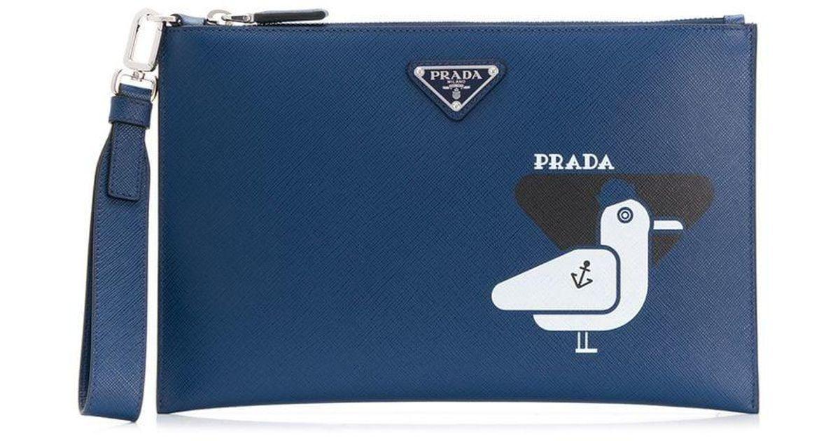 0fb55b24107 Prada Seagull Printed Clutch Bag in Blue for Men - Lyst