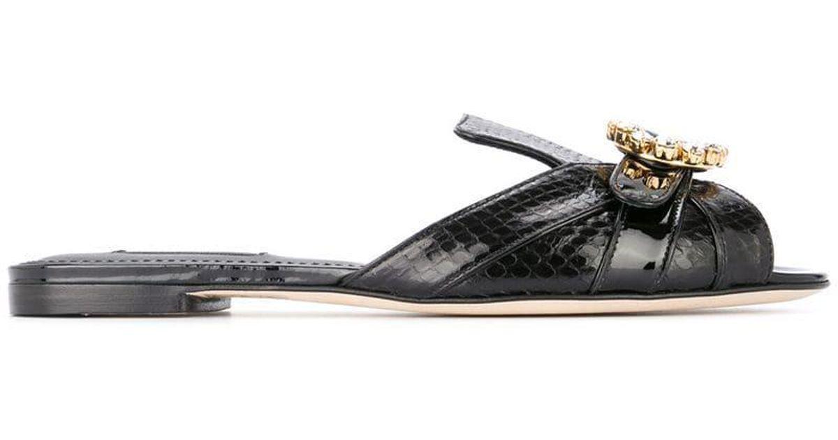 244c8942bfda Lyst - Dolce   Gabbana Embellished Mules in Black