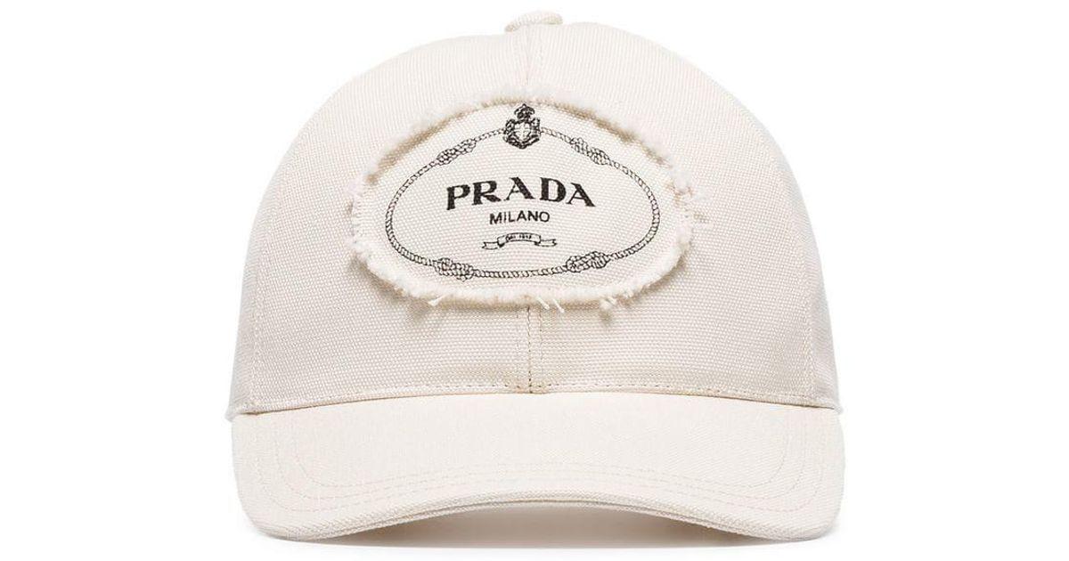 bfabf10916d Lyst - Casquette à logo appliqué devant Prada pour homme en coloris Blanc