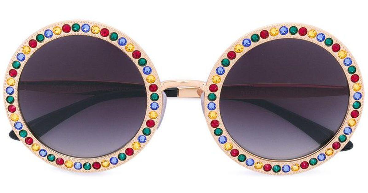 7a8d59e5ac065d Lyst - Lunettes de soleil à monture ronde Dolce   Gabbana
