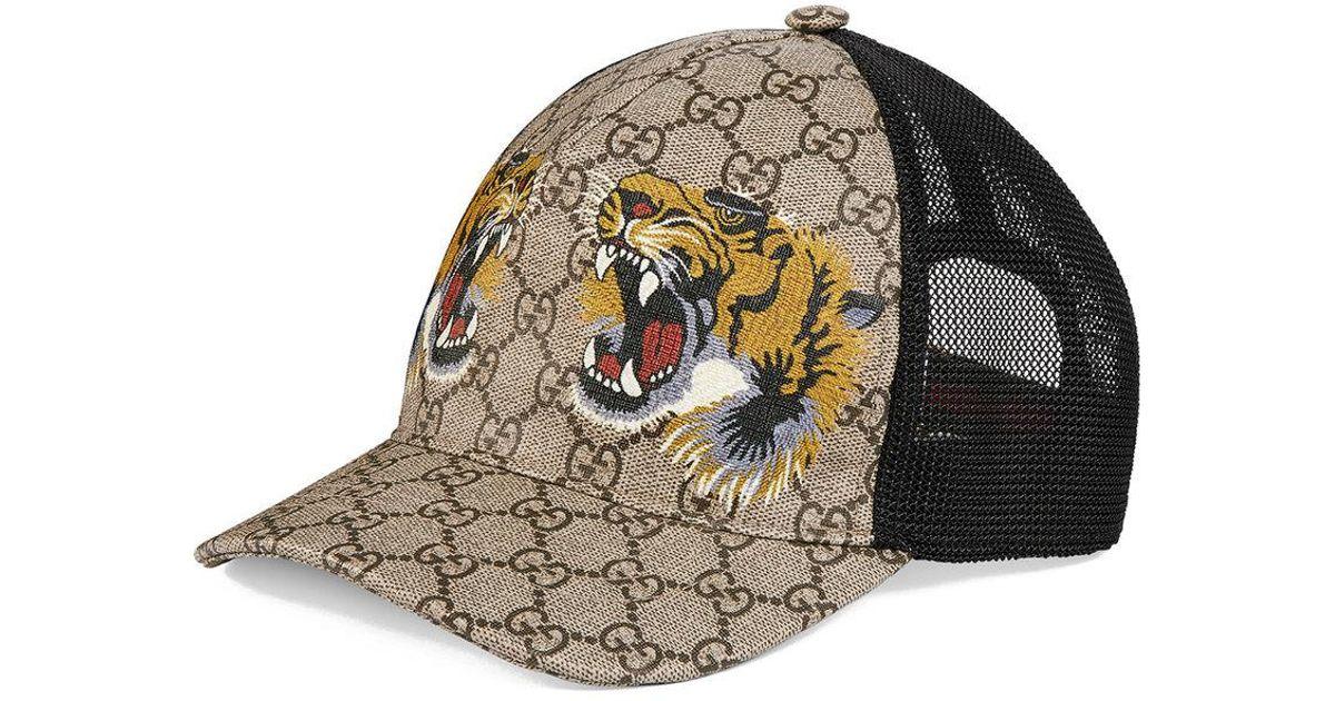 Lyst - Gucci Tigers Print GG Supreme Baseball Hat for Men 212b493ab2b