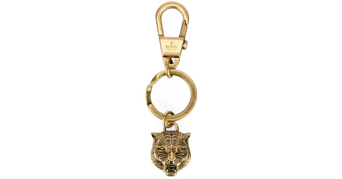 ec89782a969 Lyst - Gucci Tiger Keychain in Metallic