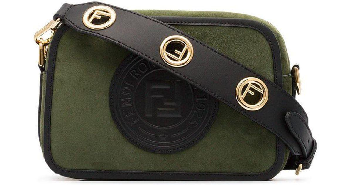 Lyst - Fendi Green Logo Stamp Suede Cross-body Bag in Green f7e48054d411a