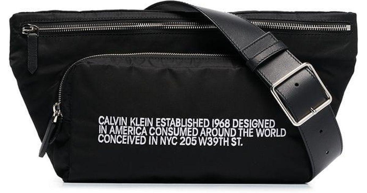 531ab26d967 CALVIN KLEIN 205W39NYC Black Ck Address Print Belt Bag in Black - Save 5% -  Lyst