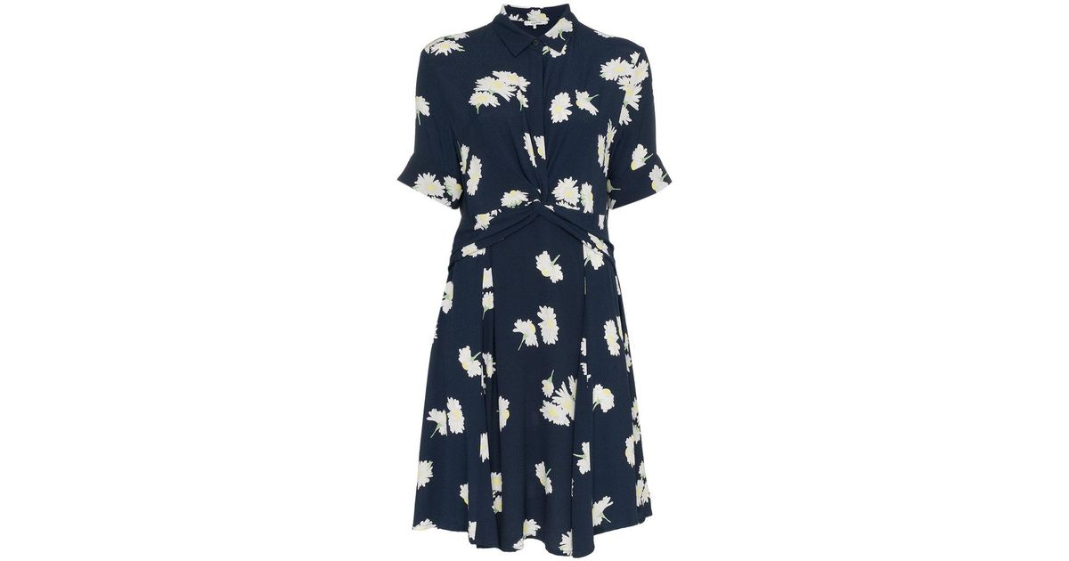 93e9cd29bdf Lyst - Ganni Floral Print Knotted Waist Shirt Dress in Blue