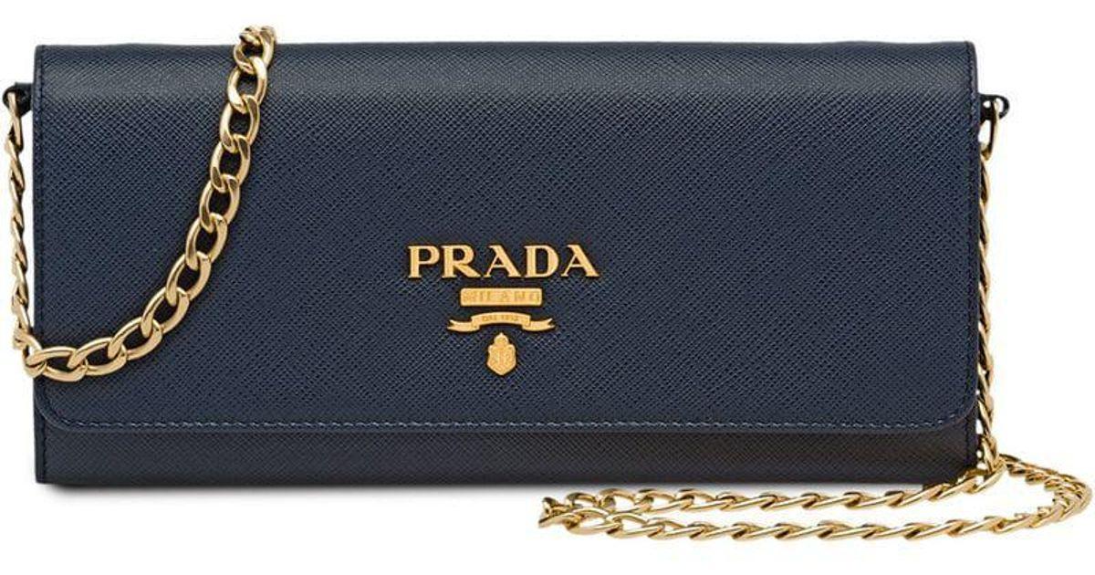 54cf8532d4df Lyst - Prada Leather Shoulder Bag in Blue