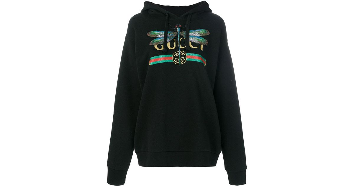 cabd79a0741 Lyst - Gucci Logo And Dragonfly Hoodie in Black