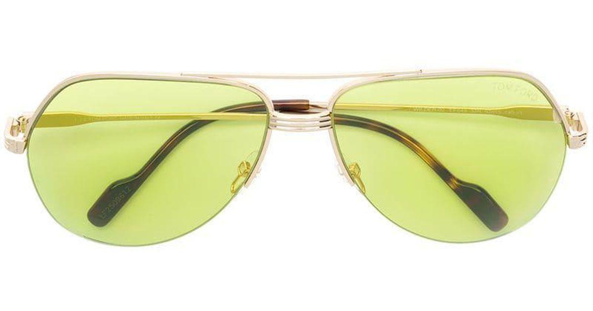 bdfbe800689 Tom Ford Aviator Sunglasses in Metallic - Lyst