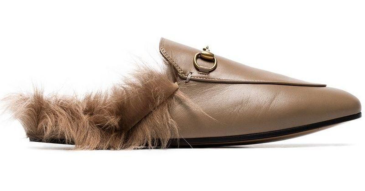 c2cb76d8ad05 Lyst - Gucci Beige Princetown Flat Leather And Shearling Slippers in Brown