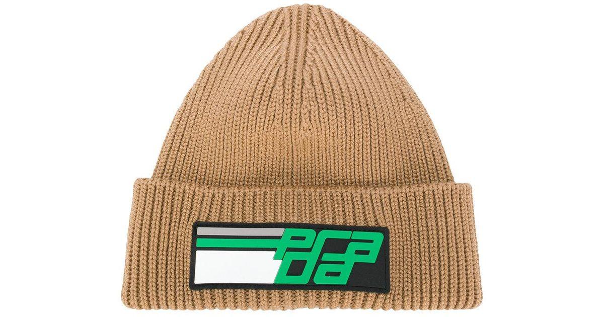3ee39aae5dd Lyst - Prada Logo Knit Beanie Hat in Green