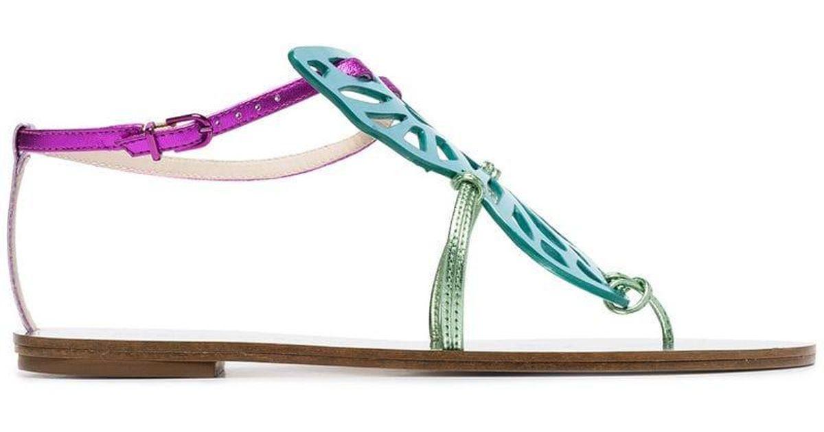 9c35de1141224a Lyst - Sophia Webster Multicoloured Bibi Butterfly Flat Metallic Leather  Sandals in Metallic - Save 10%