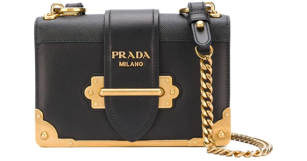 Prada Cahier Shoulder Bag in Black - Lyst 493d03333e