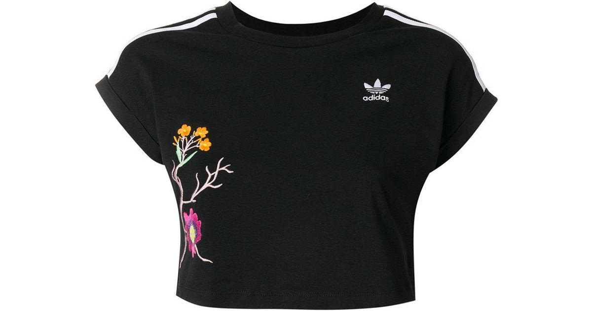 4784595e5 adidas Graphic Cropped Tee in Black - Lyst