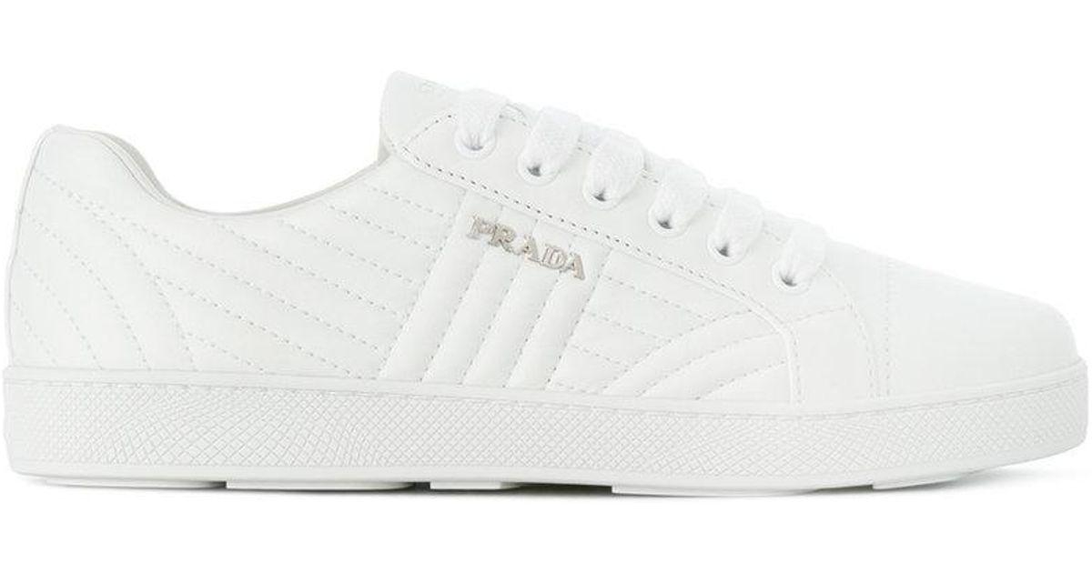 Prada Chaussures De Sport Matelassée Bas-top - Blanc bWUmUA