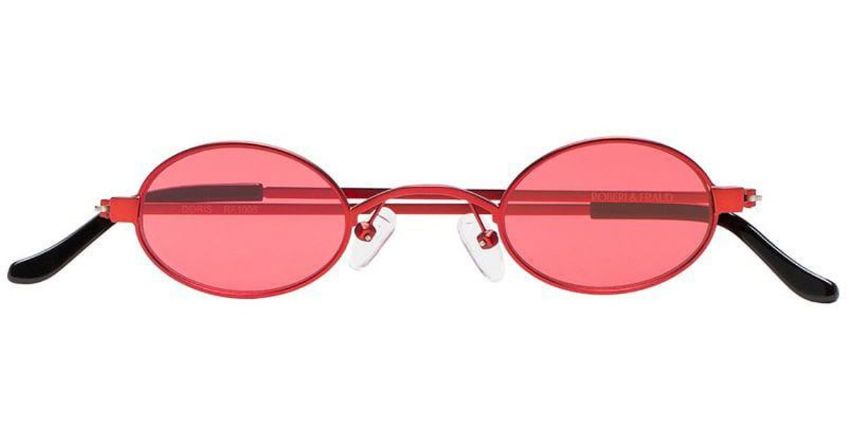 cce928eba4 Lyst - ROBERI AND FRAUD Red Doris Round Frame Sunglasses in Red
