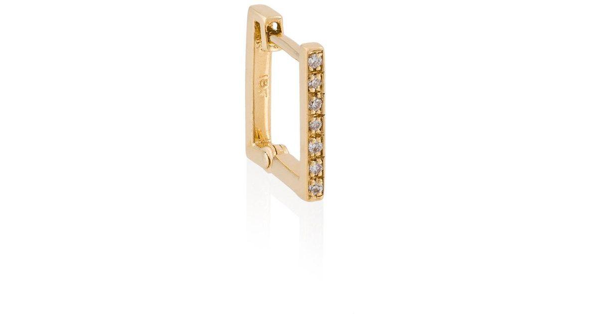 Lizzie Mandler petit square emerald Huggies earrings - Metallic RQ0zn