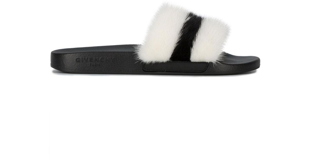 93fca54f765e Lyst - Givenchy Striped Faux Fur Pool Slides in White