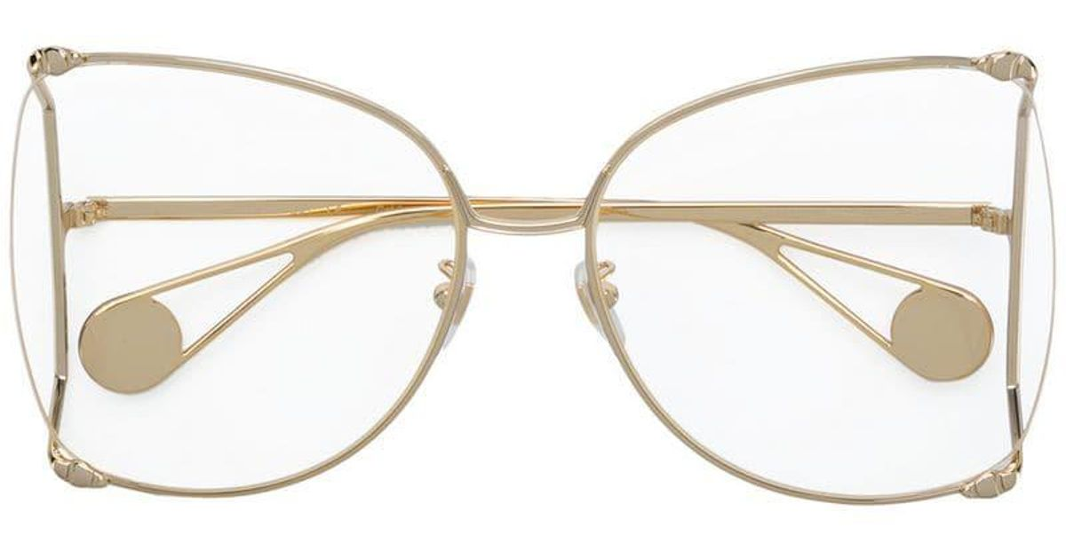 ceb5608380 Gucci Square Oversized Glasses in Metallic - Lyst
