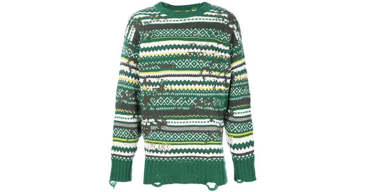 Diesel Distressed Fair Isle Jumper in Green for Men | Lyst