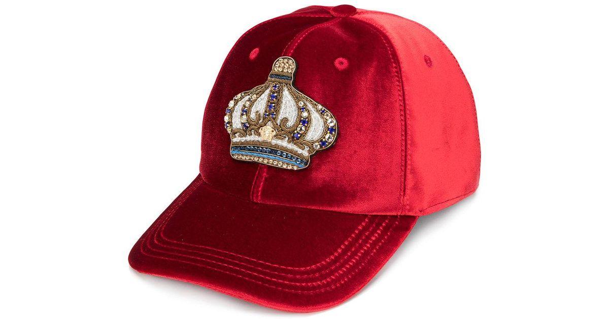2a5193fbb2f0e Versace Velvet Crown Baseball Cap in Red for Men - Lyst