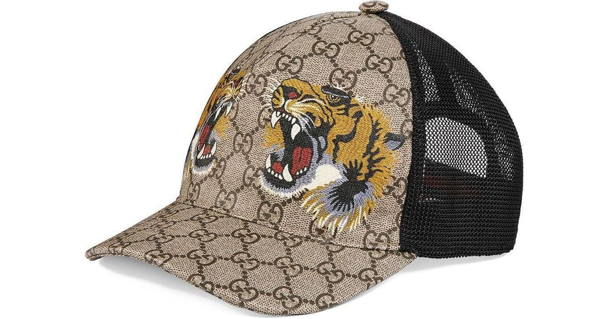 32f8bda8b Gucci Tigers Print GG Supreme Baseball Hat for Men - Save 7% - Lyst