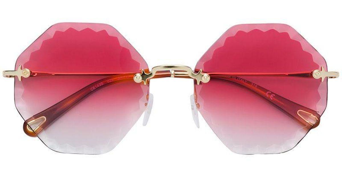 c2f9aa0554a94 Chloé Bevelled Edge Round Frame Sunglasses in Metallic - Lyst