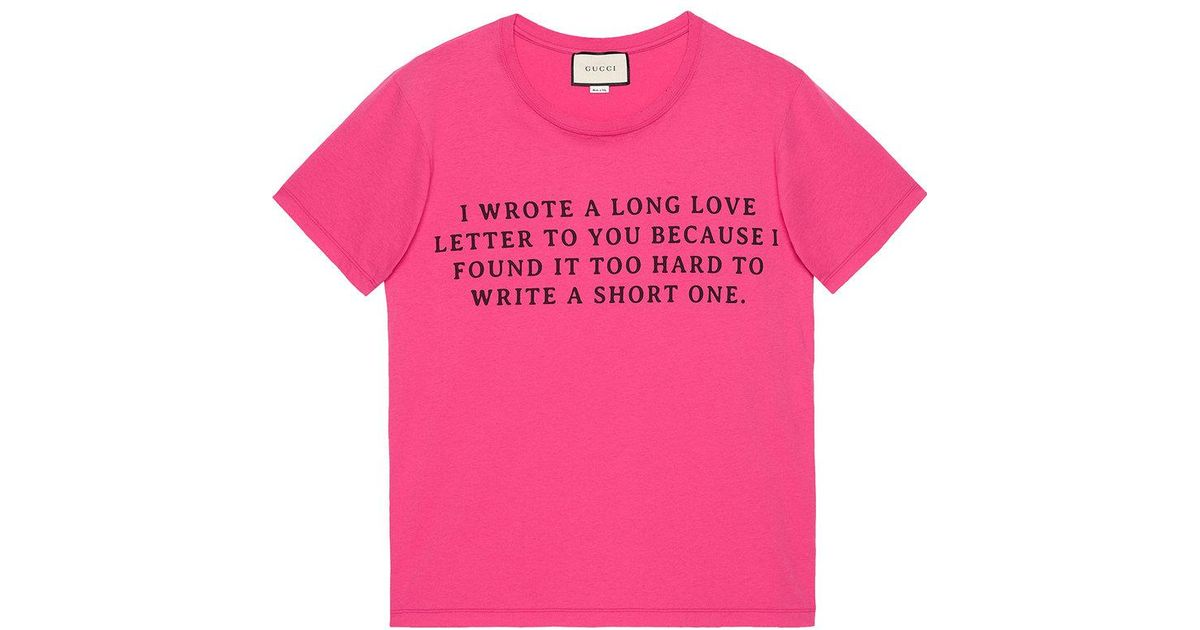 8c126a248d3 Lyst - Gucci Love Letter Print T-shirt in Pink for Men