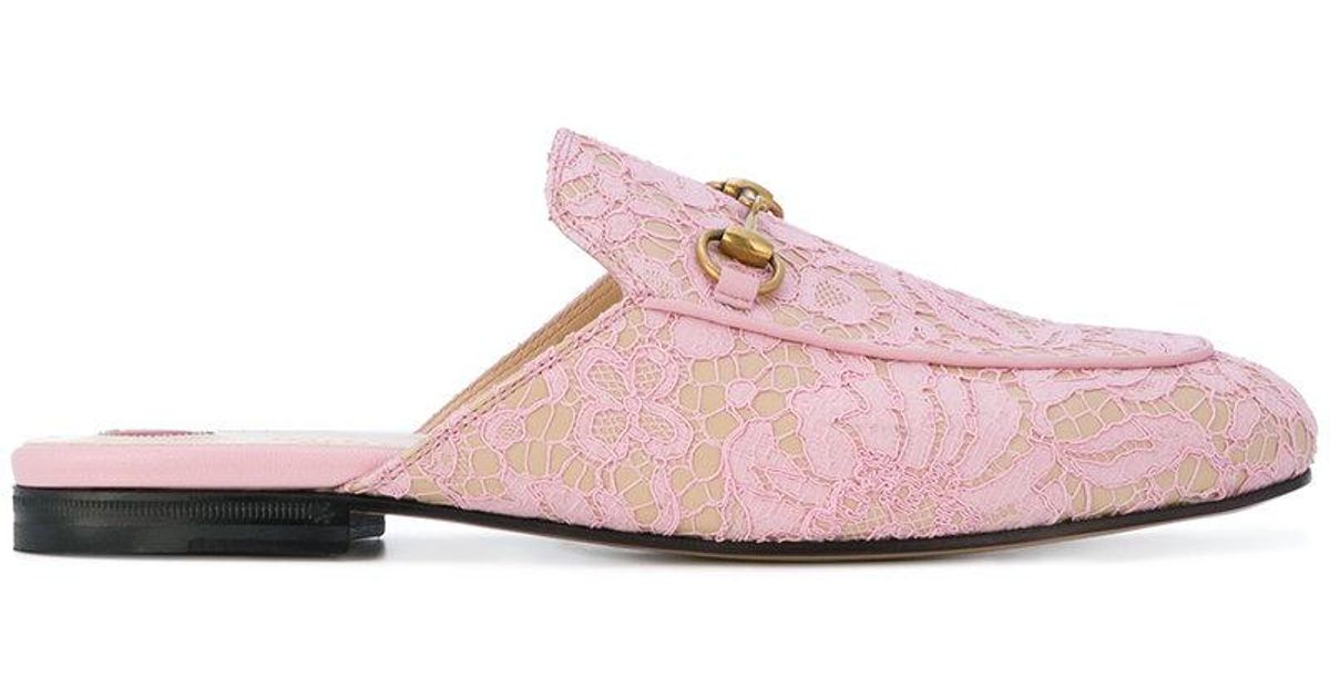 fdbcb65e9 Gucci Princetown Mules in Pink - Lyst