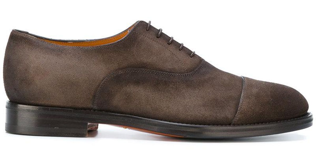 santoni casual derby shoes in brown for lyst