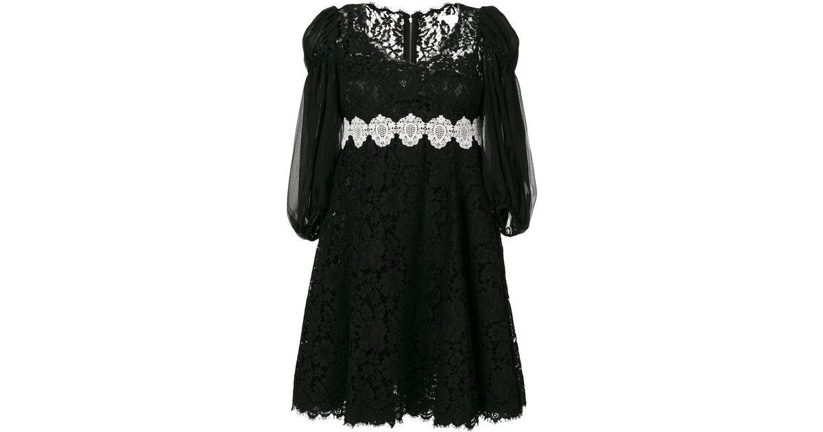 0a070da5a1892 Dolce & Gabbana Lace Puff Sleeve Dress in Black - Save 44% - Lyst