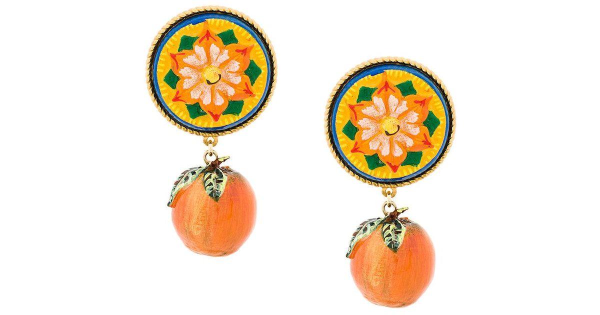 ed7976e7f231 Pendientes Majolica con diseño de mandarina Dolce   Gabbana de color  Naranja - Lyst