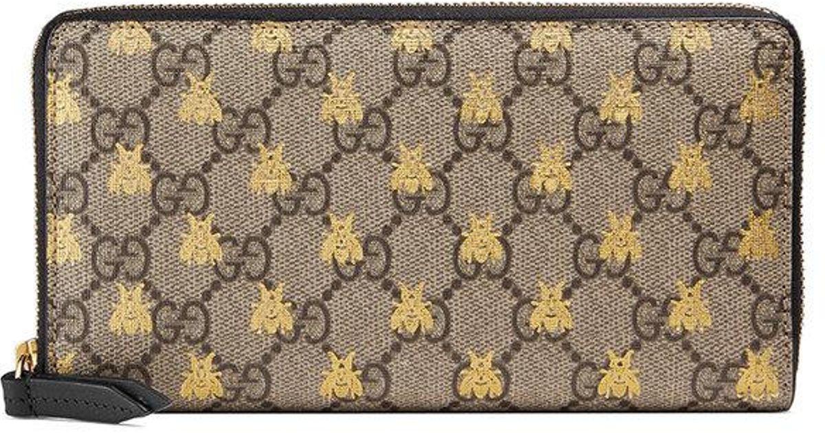cbf7739fa6f Lyst - Gucci Gg Supreme Logo And Bee Wallet