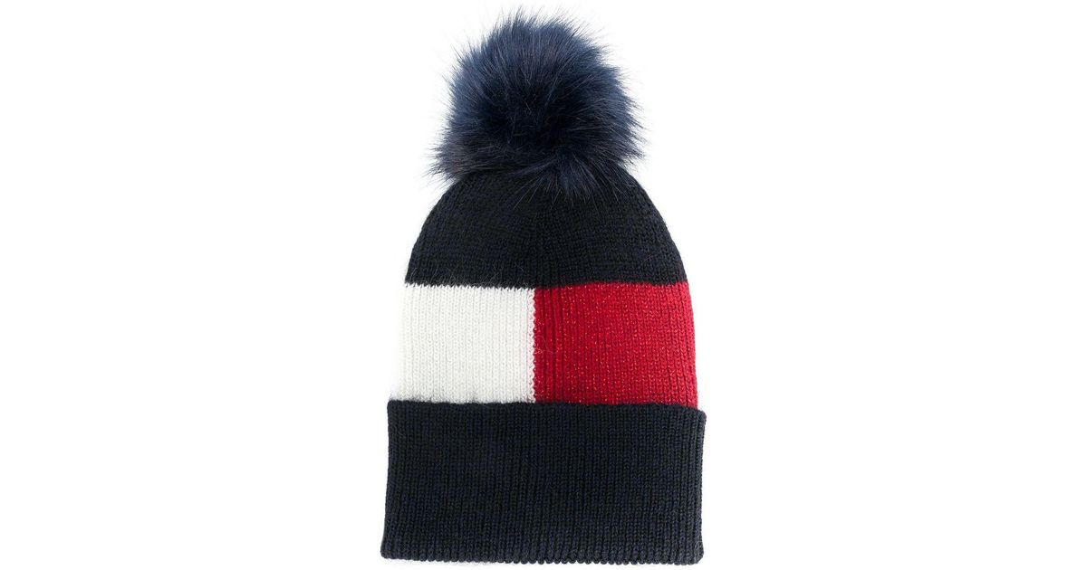 Tommy Hilfiger Luxury Colour Blocked Navy Beanie in Blue - Save 28% - Lyst 3262824e2eee