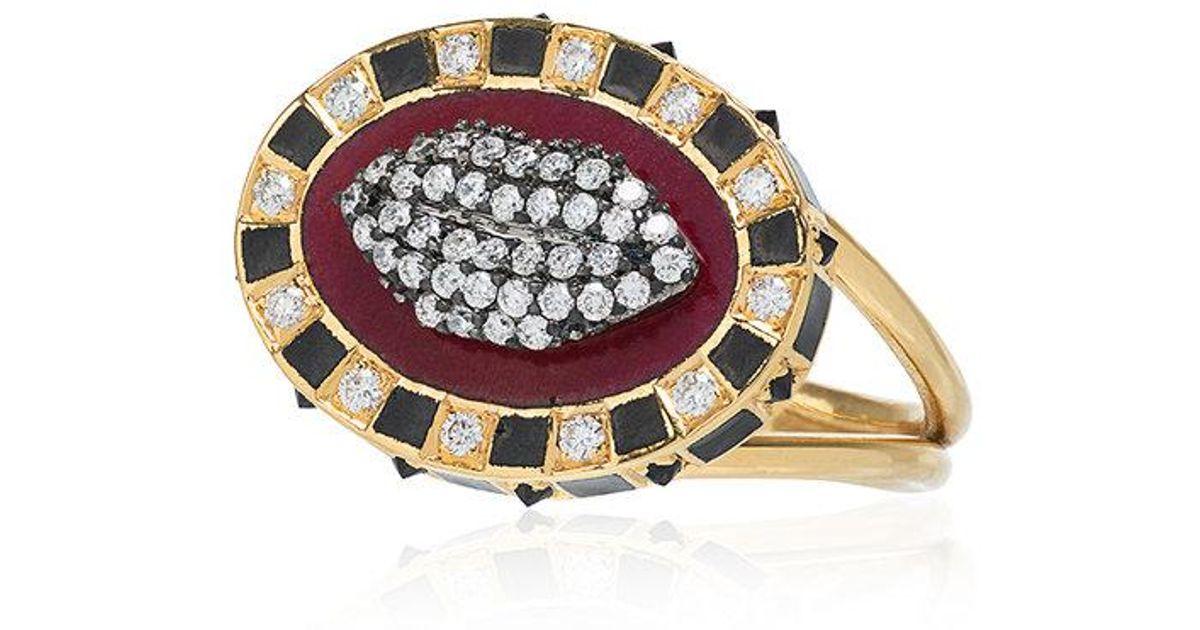 Holly Dyment 18k yellow gold Glam lip diamond ring - Metallic Qn03aNiY9