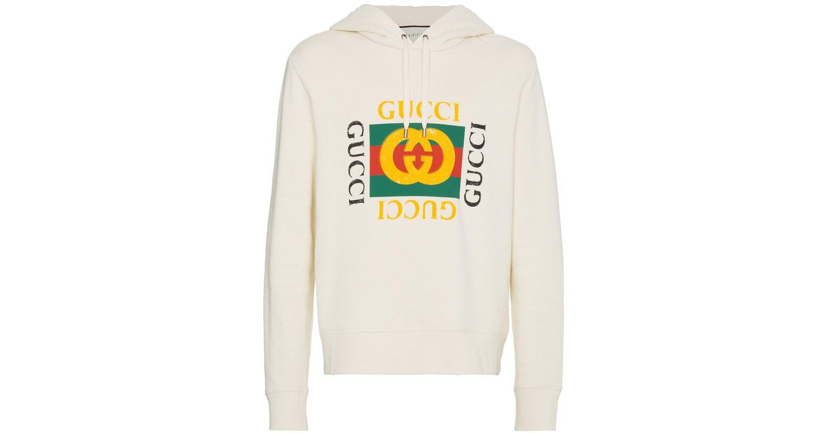 28cf769ae1f Gucci Gg Fake Hooded Sweatshirt in Natural for Men - Lyst