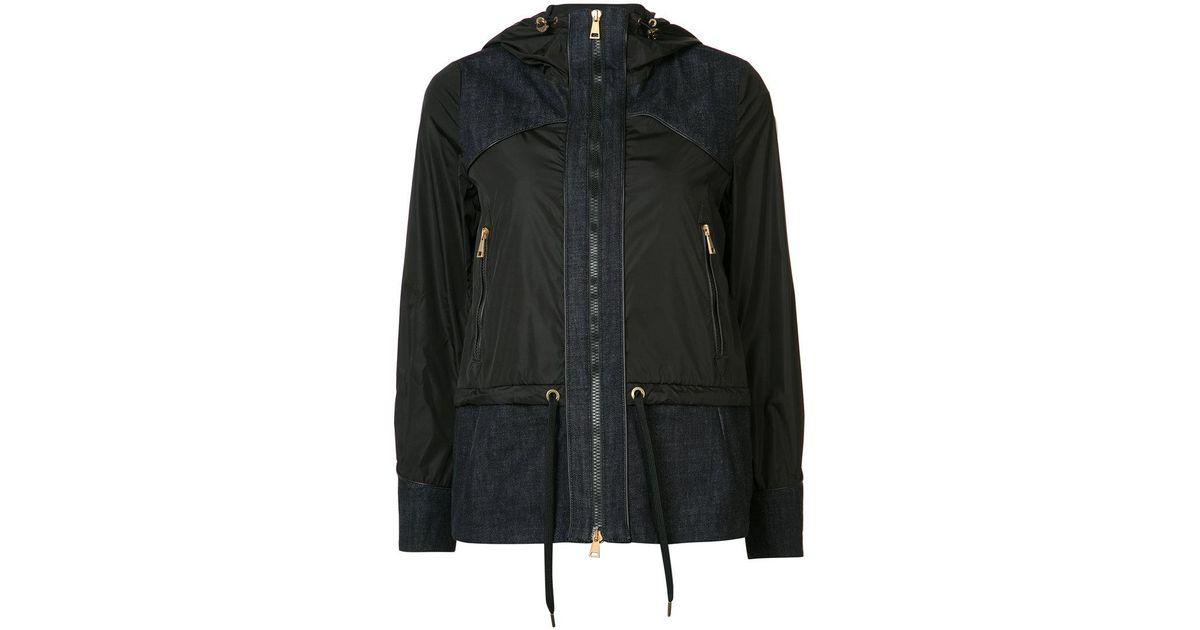 4b990ecd7 Lyst - Moncler Hooded Denim Patch Jacket in Black